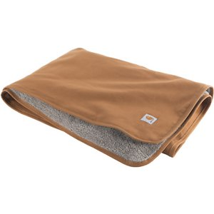 Carhartt Dog Blanket, Brown; Keep your furry friend cozy, dry and warm with the Carhartt Dog Blanket. This reversible blanket is water-repellent and made from durable firm-hand cotton duck canvas. It features Sherpa lining for warmth and comfort with reinforced bound edges for protection from the elements. Carhartt Dog Blanket is ideal for lounging around the house or you can take it with you on your next adventure with your sidekick.