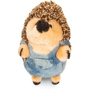 Petmate Heggie Farmer Squeaky Plush Dog Toy; Your pup is going to hog this Petmate Heggie Farmer Plush Dog Toy once she gets her paws on it! Heggies are precious plushies that come in a variety of cute hedgehog characters (sold separately). While they are soft and snuggly on the outside, it's what's on the inside that really counts—built-in grunting sounds that are sure to pique your pup's interest with every squeeze! So, whether your canine wants to snuggle or play a game of fetch or catch, this Petmate Heggie will make the paw-fect plush companion.