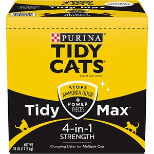 Tidy Max 4-in-1 Strength Scented Clumping Clay Cat Litter, 38-lb box; Help keep your kitty's litter box smelling fur-esh with Tidy Max 4-in-1 Strength Multi-Cat Clumping Cat Litter. This natural clay and mineral litter has a deodorizing system that offers advanced odor and moisture control. It helps neutralize urine and fecal odors, while blocking ammonia odors for up to two weeks! Specially designed for homes with multiple feline friends, it features unique moisture-activated power pieces that help soak up liquids and odors for all the noses in your home. And for your convenience, it forms light, tight clumps for easy scooping and weighs half as much as some of the leading clumping litter. Make litter maintenance a breeze with Tidy Max Lightweight 4-in-1 Strength Multi-Cat Clumping Cat Litter!