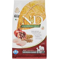 Farmina N&D Ancestral Grain Chicken & Pomegranate Medium & Maxi Adult Dry Dog Food, 5.5-lb bag