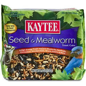Kaytee Seed & Mealworm Cake Wild Bird Treat, 6-oz; Let them eat cake! Kaytee Seed & Mealworm Cake Bird Treat is a high-energy treat formulated to attract a variety of songbirds and wild birds including bluebirds, chickadees, woodpeckers and more. Mealworms are an egg-cellent source of protein, and these cakes make them easy to access and fun to peck at, too! These cakes fit into existing wire suet and seed cake feeders. Bon appetit!