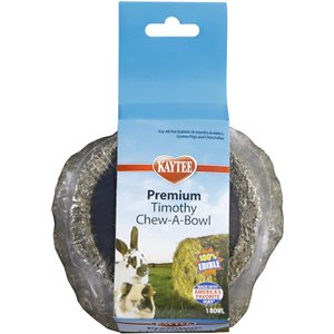 Kaytee Premium Timothy Chew-A-Bowl Small Animal Treats, 1 count; Dish out the goodness with Kaytee Premium Timothy Chew-A-Bowl Small Animal Treats. Bowl and treat all in one, Chew-A-Bowl is made with high-fiber timothy hay as well as delicious grains and vegetables, providing a 100% edible food dish that supports dental health by encouraging your pal's natural instinct to chew. It's the paw-fect way to chew and play all day. Just remember, don't add water!