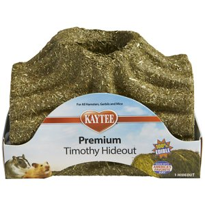 Kaytee Premium Timothy Hideout Small Animal Treats, Small; It's a secret spot for your fuzzy friend! Kaytee Premium Timothy Hideout Small Animal Treats are made with high-fiber timothy hay and are 100% edible, providing your little ball of love with a cozy corner and a treat all in one! What's more, this edible hideout supports dental health by encouraging your pal's natural instinct to chew. Grown-ups keep out – this hideout is just for pets!