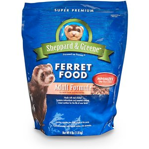 Kaytee Sheppard & Greene Adult Ferret Food, 3-lb bag; Your slinky pal will love Kaytee Sheppard & Greene Adult Ferret Food. With chicken meal as the main ingredient, this ferret food is specially formulated with crude fiber to minimize hairballs and move ingested hair through the digestive tract. What's more, increased levels of antioxidants support a healthy immune system, while no included fish or fish oils help reduce litter box odor. It's delicious and nutritious!