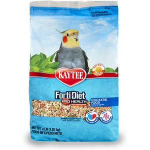 Kaytee Forti-Diet Pro Health Cockatiel Food, 4-lb bag; Look no feather, Kaytee Forti-Diet Pro Health with Safflower Cockatiel Bird Food is the perfect meal for your classy cockatiel. Formulated by an avian nutritional expert, this food contains probiotics and prebiotics to support digestive health. It is also rich in natural antioxidants for immune support and contains ingredients to help maintain vibrant, healthy plumage. That's nothing to squawk at!