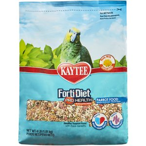 Kaytee Forti-Diet Pro Health Parrot Food, 4-lb bag; No need to repeat it, Kaytee Forti-Diet Pro Health with Safflower Parrot Bird Food is the perfect meal for your feathered friend. Formulated by an avian nutritional expert, this food contains probiotics and prebiotics to support digestive health. It is also rich in natural antioxidants for immune support and contains ingredients to help maintain vibrant, healthy plumage. That's nothing to squawk at!