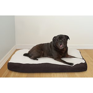 FurHaven Faux Sheepskin & Suede Deluxe Pillow Cat & Dog Bed w/Removable Cover, Espresso, Medium; Your pet will feel like he's sleeping on a cloud once he lays down on FurHaven's Faux Sheepskin & Suede Deluxe Pillow Pet Bed. This luxurious bed is designed with a silky soft faux-fur sleeping surface and oxford polycanvas, plus it's filled with insulating polyester fiber fill. The zippered liner allows you to refill the bed after frequent use and the zippered cover is machine washable for hassle-free cleaning. The gusseted pillow also offers high-loft comfort your paw-tner is sure to love!