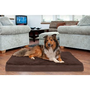 FurHaven Terry Deluxe Memory Foam Pillow Cat & Dog Bed w/Removable Cover, Espresso, Jumbo; The FurHaven Terry & Suede Memory Foam Pet Bed gives your pet an ultra-comfortable bed that he might just love more than yours. Featuring a memory foam core that's laminated to medical-grade polyurethane, it works with your dog's weight to cradle his body and provide relief to painful muscles and joints—making it the perfect retreat after a long day at the park, or for loyal companions that could use the extra support. The result is a longer, more restful sleep that can actually improve his health and energy, with a super-snuggly soft terry fleece exterior and dyed-to-match suedine gusset that will feel like a warm embrace. And the design is paw-fect for older or disabled pets since it's easy to step right onto!