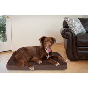 FurHaven Terry Deluxe Memory Foam Pillow Cat & Dog Bed w/Removable Cover, Espresso, Large; The FurHaven Terry & Suede Memory Foam Pet Bed gives your pet an ultra-comfortable bed that he might just love more than yours. Featuring a memory foam core that's laminated to medical-grade polyurethane, it works with your dog's weight to cradle his body and provide relief to painful muscles and joints—making it the perfect retreat after a long day at the park, or for loyal companions that could use the extra support. The result is a longer, more restful sleep that can actually improve his health and energy, with a super-snuggly soft terry fleece exterior and dyed-to-match suedine gusset that will feel like a warm embrace. And the design is paw-fect for older or disabled pets since it's easy to step right onto!