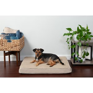 FurHaven Terry Deluxe Memory Foam Pillow Cat & Dog Bed w/Removable Cover, Clay, Medium; The FurHaven Terry & Suede Memory Foam Pet Bed gives your pet an ultra-comfortable bed that he might just love more than yours. Featuring a memory foam core that's laminated to medical-grade polyurethane, it works with your dog's weight to cradle his body and provide relief to painful muscles and joints—making it the perfect retreat after a long day at the park, or for loyal companions that could use the extra support. The result is a longer, more restful sleep that can actually improve his health and energy, with a super-snuggly soft terry fleece exterior and dyed-to-match suedine gusset that will feel like a warm embrace. And the design is paw-fect for older or disabled pets since it's easy to step right onto!
