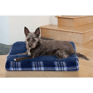 FurHaven Faux Sheepskin & Plaid Deluxe Cat & Dog Bed w/Removable Cover, Midnight Blue, Small; Your pet will feel like he's sleeping on a cloud once he lays down on FurHaven's Sheepskin & Plaid Deluxe Pillow Pet Bed. This luxurious bed is designed with a silky soft faux-fur sleeping surface and stuffed with insulating polyester fiber fill. The zippered liner allows you to refill the bed after frequent use and the zippered cover is machine washable for hassle-free cleaning. The gusseted pillow also offers high-loft comfort your paw-tner is sure to love!