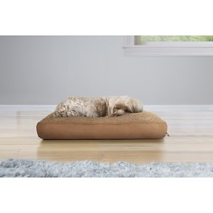 FurHaven Snuggle Deluxe Pillow Cat & Dog Bed w/Removable Cover, Camel, Small; Give your furry friend a place of her own to rest and relax with the FurHaven Snuggle Terry & Suede Deluxe Pillow Pet Bed. It features a terry fleece sleep surface that is plush and soft for your paw-tner to cuddle up on. The fiber-filled pillow contains high-loft 100% polyester spun from recycled plastics and this bed is gusseted for maximum comfort. It also has a stretchy interior liner that allows your companion to shape the bed. With a zippered liner for refills, you will be able to maintain the FurHaven Snuggle Terry & Suede Deluxe Pillow Pet Bed for your little furry one.