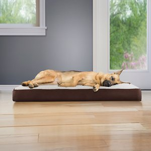 FurHaven Faux Sheepskin & Suede Memory Foam Cat & Dog Bed w/Removable Cover, Espresso, Jumbo; Provide your furry friend with plenty of comfort and support with the FurHaven Faux Sheepskin & Suede Memory Foam Pet Bed. This bed features a soft faux fur sleep surface for your paw-tner to cuddle up on with memory foam to contour to her body. It provides overall support and relief from muscle pain and joint discomfort while soothing pressure points. The base layer is made of medical-grade polyurethane for stability with an easy step-on mat design for older and disabled companions. This bed also features a zippered, removable cover that is machine washable for convenience. With plenty of colors to match your home décor and a portable design, FurHaven Faux Sheepskin & Suede Memory Foam Pet Bed is a welcomed addition to any home with furry little ones.