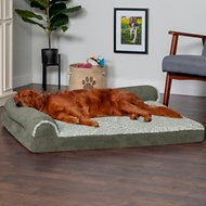 FurHaven Two-Tone Deluxe Chaise Memory Top Cat & Dog Bed w/Removable Cover
