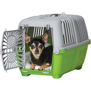 MidWest Spree Hard-Sided Dog & Cat Kennel, Green, 19-in; Take your furry friend on a quick trip with the MidWest Spree Hard-Sided Dog & Cat Carrier. Made of durable plastic, it provides your paw-tner with plenty of ventilation and visibility so he can look out. This carrier features a secure plastic door that can open in either direction with a built-in carrying handle to haul your companion around. It also assembles quickly with no tools and is easy to clean for convenience. MidWest Spree Hard-Sided Dog & Cat Carrier is available in multiple colors to match the paw-sonality of your sidekick.