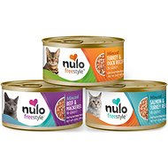 Nulo Freestyle Minced Salmon & Turkey, Minced Beef & Mackerel, Minced Turkey & Duck Grain-Free Variety Pack Canned Cat Food, 3-oz, case of 12