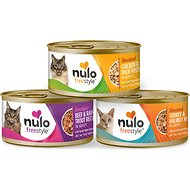 Nulo Freestyle Shredded Chicken & Duck, Shredded Beef & Rainbow Trout, Shredded Turkey & Halibut Grain-Free Variety Pack Canned Cat Food, 3-oz, case of 12