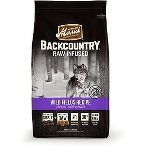 Merrick Backcountry Raw Infused Grain-Free Wild Fields Recipe Duck, Rabbit, & Quail Dry Dog Food, 12-lb bag; Merrick Backcountry Raw Infused Wild Fields Recipe Duck, Rabbit & Quail Grain-Free Dry Dog Food is an all-natural, grain free ancestral canine diet packed with the flavor your best friend craves. The unique recipe delivers the perfect combination of protein-rich, grain-free kibble along with pieces of real, raw, freeze-dried poultry and wholesome fruits and veggies like sweet potatoes, peas, apples and blueberries for vital nutrients and fiber. Now you can give your active sidekick the nutritional benefits of a raw diet he would have discovered in the wild!
