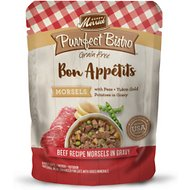 Merrick Purrfect Bistro Bon Appetits Grain-Free Beef Recipe Morsels in Gravy Adult Cat Food Pouches, 3-oz, case of 24