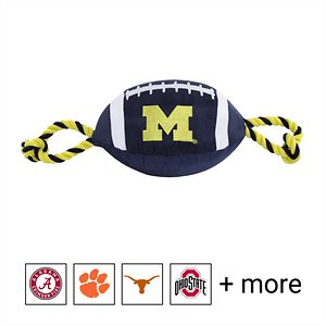 Pets First NCAA Football Rope Dog Toy, Michigan