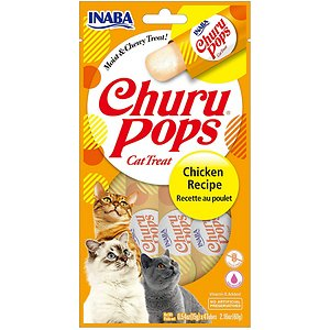 Inaba Churu Pops Moist & Chewy Chicken Recipe Lickable Cat Treats, 0.54-oz tube, pack of 24