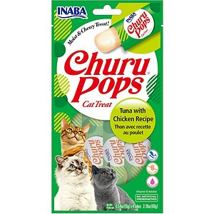 Inaba Churu Pops Moist & Chewy Tuna with Chicken Recipe Lickable Cat Treats, 0.54-oz tube, pack of 24