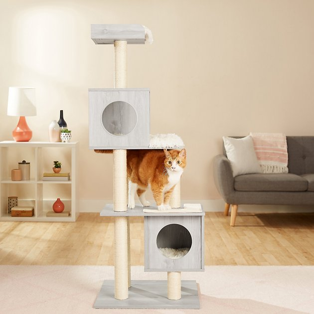 Frisco 62 In Modern Cat Tree Condo Gray Chewy Com