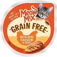 Meow Mix Real Chicken in Gravy Grain-Free Cat Food Trays, 2.75-oz, case of 12