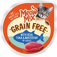 Meow Mix Real Tuna and Whitefish in Sauce Grain-Free Cat Food Trays, 2.75-oz, case of 12