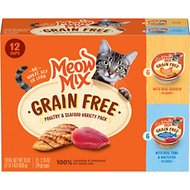 Meow Mix Poultry & Seafood Variety Pack Grain-Free Cat Food Trays, 2.75-oz, case of 12