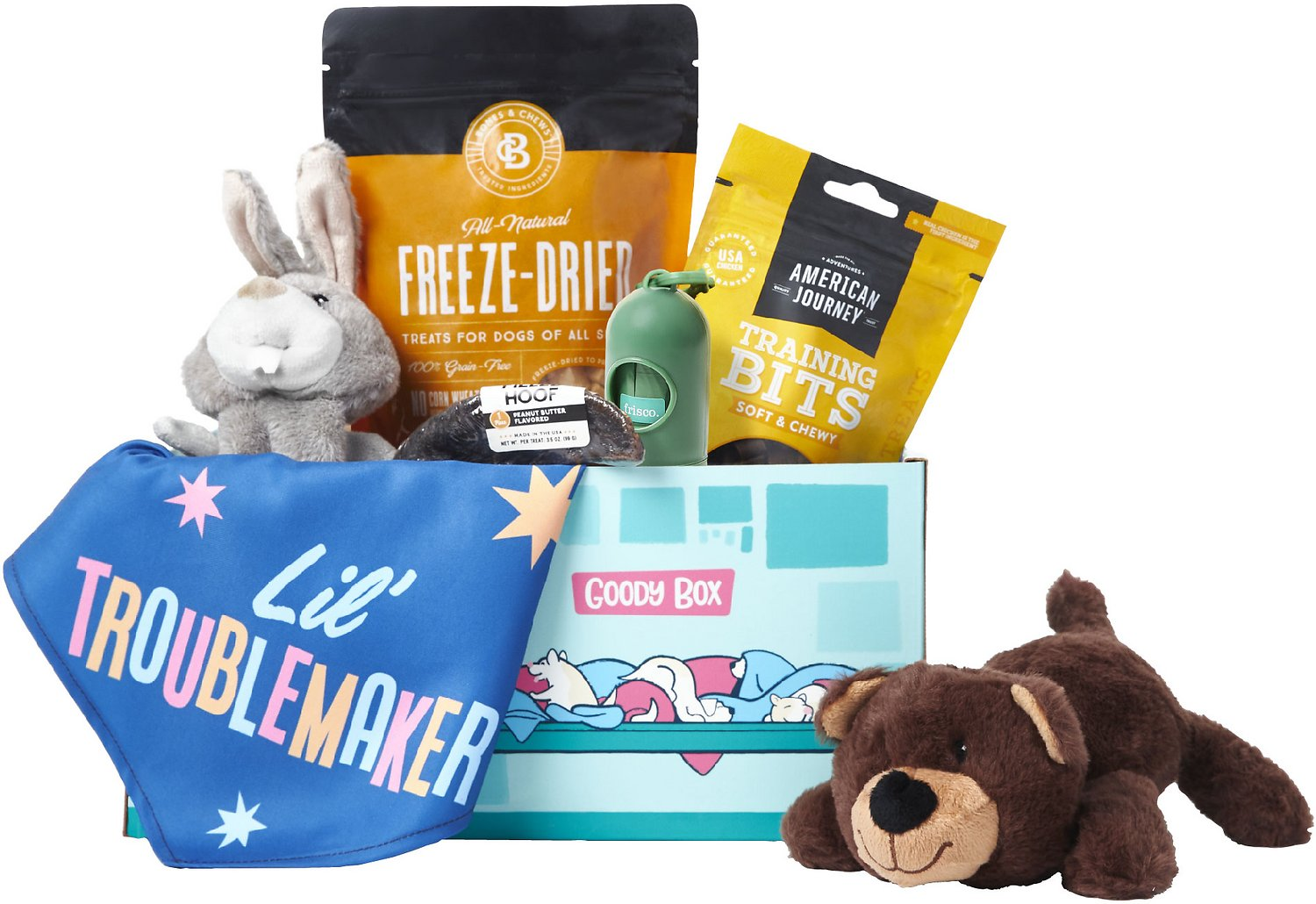 Chewy Goody box with dog treats, plush toys, poop bags, and dog bandana.
