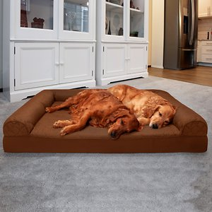 FurHaven Quilted Orthopedic Sofa Cat & Dog Bed w/ Removable Cover, Toasted Brown, Jumbo Plus; Curling up for a quick nap or a long night's rest has never felt better when your sleepy pet has the FurHaven Quilted Orthopedic Sofa Cat & Dog Bed w/ Removable Cover. This high-quality bed is designed for maximum comfort with a soft, quilted sleeping surface and a dense, medical-grade orthopedic foam base. The egg-crate foam allows for better airflow and gently cradles her entire body in near weightless luxury to relieve pressure on her joints for a deep, soothing sleep. Three suede side bolsters provide a comfy spot to rest her head and offer back support for your cuddling pal, while the open side allows small, older or arthritic pets to easily climb in and out of the bed. Whatever position your pet prefers to sleep in, they'll find nothing but comfort and sweet dreams!