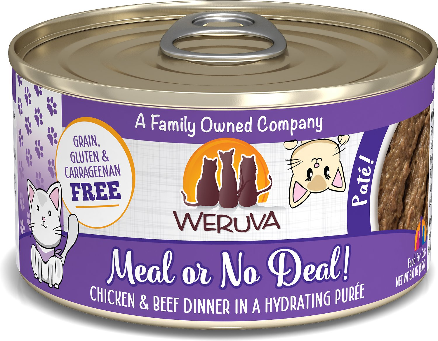 Weruva Classic Cat Meal or No Deal Chicken & Beef Pate Canned Cat ...
