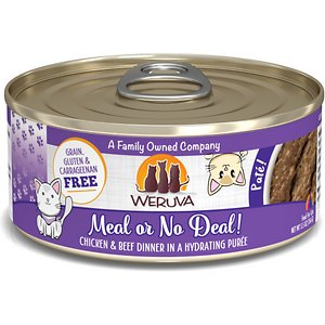 Weruva Classic Cat Meal or No Deal Chicken & Beef Pate Canned Cat Food, 5.5-oz can, case of 8