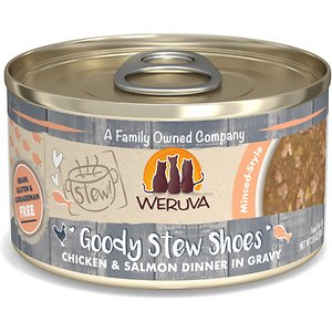 Weruva Classic Cat Goody Stew Shoes Chicken & Salmon in Gravy Stew Canned Cat Food, 2.8-oz can, case of 12; Your kitty is sure to be on her best behavior when she knows you're going to fill her bowl with Weruva Classic Cat Goody Stew Shoes Chicken & Salmon in Gravy Stew. This canned cat food is made with chicken and salmon cloaked in a paw-licking good gravy. You'll be paw-leased to know every bite is loaded with vitamins, minerals, omegas and antioxidants—no grain, gluten, artificial flavors or other undesirable additives. It also has the purr-fect amount of moisture she needs to be happy and healthy. This meal comes in two sizes so you can choose the right portion size for your kitty.
