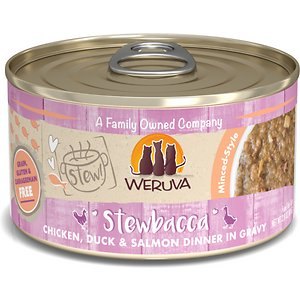 Weruva Classic Cat Stewbacca Chicken, Duck & Salmon in Gravy Stew Canned Cat Food, 2.8-oz can, case of 12