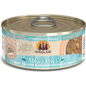 Weruva Classic Cat Stew\\\'s Clues Turkey, Chicken & Salmon in Gravy Stew Wet Canned Cat Food, 5.5-oz can, case of 8; If kitty is trying to give you hints about what she'd like for dinner, we'll give you a clue—Weruva Classic Cat Stew\\\'s Clues Turkey, Chicken & Salmon in Gravy Stew. This canned cat food is made with turkey, chicken and salmon cloaked in a paw-licking good gravy. You'll be paw-leased to know every bite is loaded with vitamins, minerals, omegas and antioxidants—no grain, gluten, artificial flavors or other undesirable additives. It also has the purr-fect amount of moisture she needs to be happy and healthy. This meal comes in two sizes so you can choose the right portion size for your kitty.