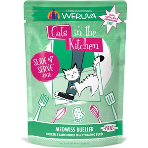 Weruva Cats in the Kitchen Meowiss Bueller with Chicken & Lamb Grain-Free Cat Food Pouches, 3-oz pouch, case of 12; Weruva Cats in the Kitchen Meowiss Bueller Chicken & Lamb Pate Grain-Free Cat Food Pouches deliver delicious, quality food designed with your kitty's health in mind. Your kitty wouldn't dream of skipping out on breakfast when you serve up this tasty blend of chicken and lamb! Simple, wholesome ingredients are gently pureed into a creamy texture. You won't find any grain, gluten, MSG or artificial flavors or colors here – just purr-fectly great natural flavors. When your cat just can't wait for breakfast and is eagerly weaving between your legs, this pouch will save you time. Just open it up and slide the food into your furbaby's dish. Best of all, these pouches are recyclable, so you're supporting both your kitty's health and the planet's health, too.