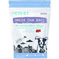 PETIPET Omega DHA Bars Alaskan Salmon Oil Dog Supplement, 180 count