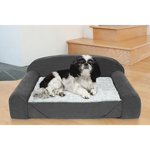 FurHaven Luxury Edition Orthopedic Bolster Cat & Dog Bed w/Removable Cover, Stone Gray, Medium; Give your furry friend her own place to lounge with the FurHaven Fur & Backed Suede Orthopedic Luxury Edition Sofa Pet Bed. It features extra-thick foam to provide plenty of insulation from hard, cold floors while supporting the back and hips of your paw-tner. The reversible base pad has two different sleep surfaces—faux fur and suede—to give your companion some comfortable variety. The bolsters also provide your sidekick with a comfortable place to rest her head. With different colors to match your any décor and a portable design, FurHaven Fur & Backed Suede Orthopedic Luxury Edition Sofa Pet Bed is a welcomed addition to any home with furry little ones.