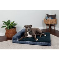 FurHaven Quilted Fleece & Print Suede Chaise Lounge Memory Top Sofa Pet Bed, Dark Blue, Large
