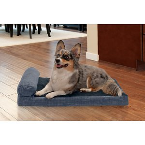 FurHaven Quilted Chaise Memory Top Bolster Cat & Dog Bed w/Removable Cover, Dark Blue, Medium; With the FurHaven Quilted Fleece & Print Suede Chaise Lounge Memory Top Sofa Pet Bed you can pamper your paw-tner while he sleeps. This luxurious piece has a quilted fleece sleep surface with a high-loft polyester fiber-filled bolster to support your pet's head and neck and help relieve sore joints. This chaise lounge adds a chic flair to your home's décor while its shape provides the perfect napping haven for your furry friend. It also features insulating memory foam atop the sofa base and has a medical grade foam core that offers extra comfort and support. When it comes time for a wash, simply remove the cover and place it in the washing machine for hassle-free cleaning!  And since, there is just one bolster, it's easy for older or disabled pets to step onto!
