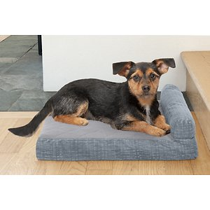 FurHaven Quilted Chaise Memory Top Bolster Cat & Dog Bed w/Removable Cover, Titanium, Small; With the FurHaven Quilted Fleece & Print Suede Chaise Lounge Memory Top Sofa Pet Bed you can pamper your paw-tner while he sleeps. This luxurious piece has a quilted fleece sleep surface with a high-loft polyester fiber-filled bolster to support your pet's head and neck and help relieve sore joints. This chaise lounge adds a chic flair to your home's décor while its shape provides the perfect napping haven for your furry friend. It also features insulating memory foam atop the sofa base and has a medical grade foam core that offers extra comfort and support. When it comes time for a wash, simply remove the cover and place it in the washing machine for hassle-free cleaning!  And since, there is just one bolster, it's easy for older or disabled pets to step onto!