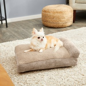FurHaven Chaise Lounge Pillow Cat & Dog Bed w/Removable Cover, Sandstone, Small; With the FurHaven Faux Fleece & Corduroy Chaise Lounge Pillow Sofa-Style Pet Bed you can pamper your paw-tner while he sleeps. This luxurious piece has a sherpa surface, a corduroy bolster to help support aching joints, plus it's stuffed with high-loft polyester fibers made from recycled water bottles for an eco-friendly bed you can feel good about! This chaise lounge adds a chic flair to your home's décor while its shape provides the perfect napping haven for your furry friend. Finally, the cover is completely removable and machine-washable for hassle-free cleaning and the liner also has a zipper, so you can refill the bed as needed!