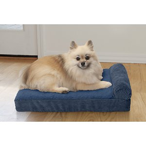 FurHaven Chaise Lounge Cooling Gel Cat & Dog Bed w/Removable Cover, Navy Blue, Small; With the FurHaven Faux Fleece & Corduroy Chaise Lounge Pillow Sofa-Style Pet Bed you can pamper your paw-tner while he sleeps. This luxurious piece has a sherpa surface that's soft to the touch and a corduroy bolster to help support aching joints thanks to the high-loft polyester fibers made from recycled water bottles! The core is made of medical-grade foam and the base is topped off with a layer of cooling gel infused memory foam. The foam shapes to your pal's body, supporting his joints and pressure points, while the inner activated micro-gel beads help absorb body heat and cool your pet's sleeping surface down by one or two degrees—a feature that's especially helpful during those hot summer months! Finally, the cover is completely removable and machine-washable for hassle-free cleaning and since the bed is designed with just one bolster, it's easy for pets with limited mobility to get on.