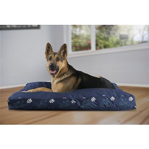 FurHaven Indoor/Outdoor Garden Deluxe Cat & Dog Bed w/Removable Cover, Lapis Blue, Jumbo; FurHaven's Garden Indoor/Outdoor Deluxe Deluxe Pillow Pet Bed allows your paw-tner to not only rest comfortably indoors, but outdoors too! Designed with a beautiful, high-loft floral gusset, this bed is available in four different colors and sizes, so you can find the best fit for your home and your furry friend. It's covered with water-resistant coated poly-canvas to help protect the inside materials from moisture and is filled stuffed with insulating, recycled polyester fiber fill for maximum comfort.