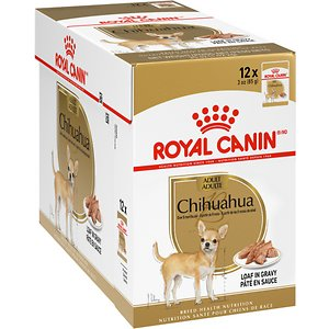 Royal Canin Breed Health Nutrition Chihuahua Adult Wet Dog Food, 3-oz pouch, case of 12; Give your adult pup the nutrition that's tailored just for her with Royal Canin Breed Health Nutrition Chihuahua Adult Wet Dog Food. This highly digestible pate is specifically formulated for purebred chihuahuas 8 months of age and older. It features a lip-smacking loaf in gravy that's packed with omega-3 EPA and DHA, plus biotin to support healthy skin and a shiny coat. Not only does this recipe help your dog look good on the outside, but it also will help her feel good on the inside, since it's moderately high in fat, dense with energy and contains both soluble and insoluble fibers to support healthy digestion. This complete and balanced meal can be fed on its own or with Royal Canin Chihuahua Adult or Chihuahua Adult 8+ Dry Dog Food.