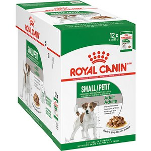 Royal Canin Small Adult Wet Dog Food, 3-oz pouch, case of 12; Give your sidekick nutrition that's tailored just for her with Royal Canin Small Adult Wet Dog Food! Served in convenient, ready-to-serve pouches, this recipe is specially crafted for small breed adult dogs who are 10 months to 12 years old weighing up to 22 pounds. It's crafted with the chunks in gravy for the taste your dog loves and loaded with all the goodness you love! This recipe supports digestion with digestible proteins, promotes weight control with adapted energy content and promotes healthy skin and a lustrous coat with omega-3 fatty acids EPA and DHA. This complete and balanced meal can be fed on its own or with Royal Canine Small Adult and Small Adult 8+ Dry Dog Food.