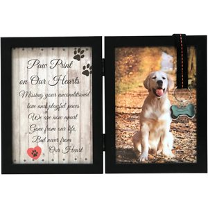 Pawprints Remembered Memorial Picture Frame with Ribbon & Tag