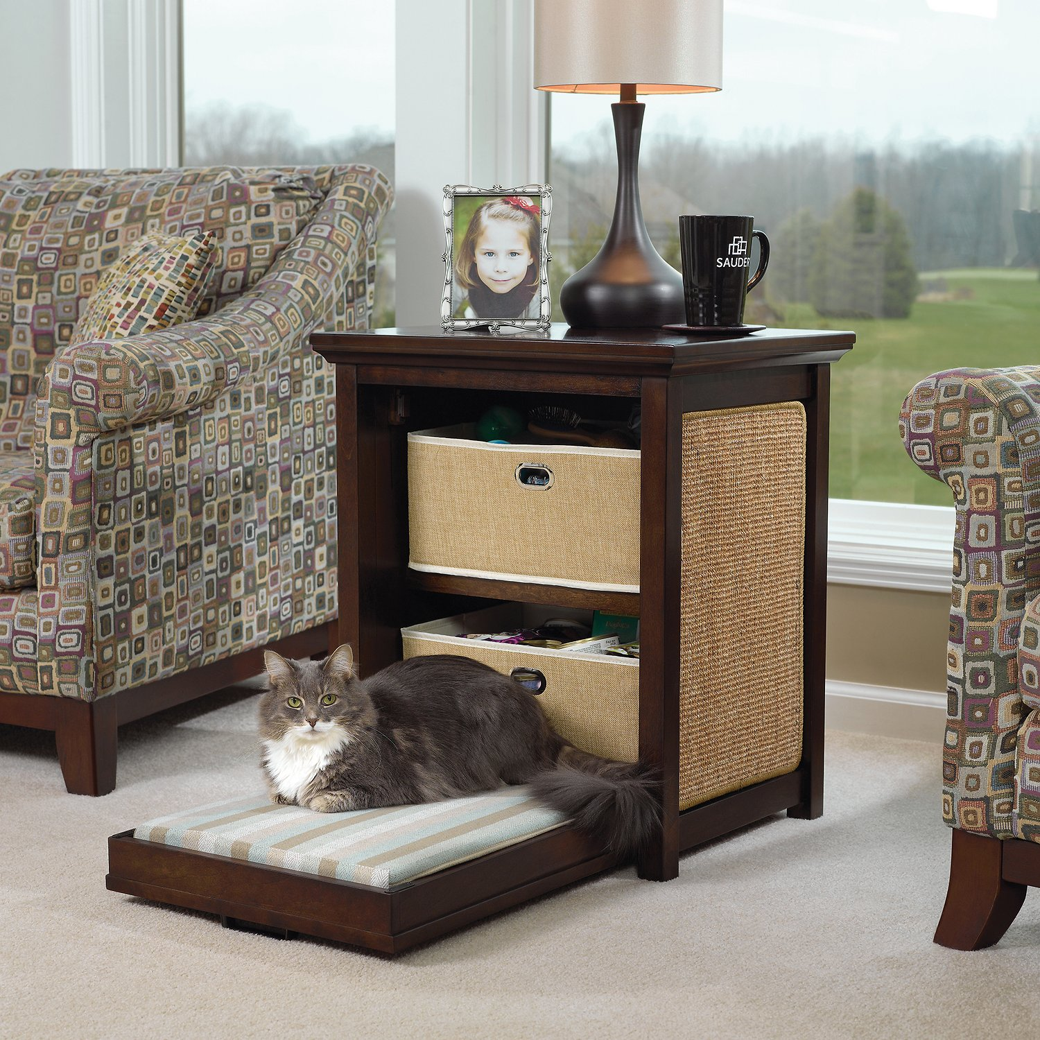 Picture of: Sauder Side Table Cat Bed Dark Wood Chewy Com